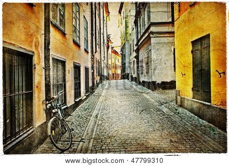 old streets of Stokholm - artistic vintage picture