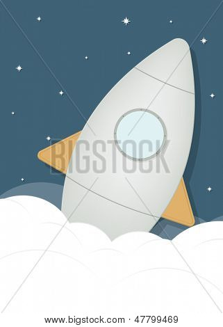 cartoon rocket ship in space