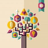 image of sustainable development  - Retro style save the Earth tree idea with icons set - JPG