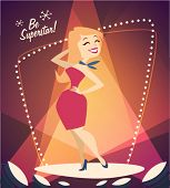 Smiling girl on the podium. Vector retro styled illustration.