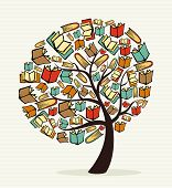 foto of grammar  - Global education concept tree made with books - JPG