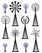 Vector Radio Tower And Wave Broadcast Symbols And Icons