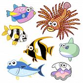 stock photo of sunfish  - cartoon sea animals set with white background - JPG