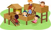 foto of stickman  - Illustration of Stickman Kids Playing in the Park - JPG