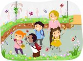 image of stickman  - Illustration of Stickman Kids in a School Trip at Butterfly Garden - JPG