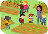 stock photo of stickman  - Illustration of Stickman Kids School Trip to a Vegetable Garden - JPG