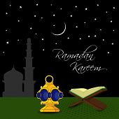 stock photo of islamic religious holy book  - Open Islamic religious holy book Quran Shareef with illuminated lantern in shiny night background for month of Ramadan Kareem - JPG