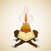 stock photo of quran  - Holy month of muslim community Ramadan Kareem concept with open islamic religious book Quran Shareef and illuminated traditional lantern - JPG