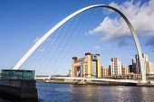 image of tyne  - Modern bridge on river in newcastle city - JPG