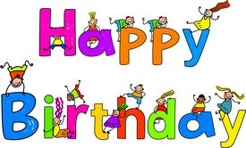 stock photo of happy birthday  - Happy Birthday text message with little kids climbing over the letters - JPG