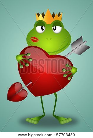 Funny Frog with heart