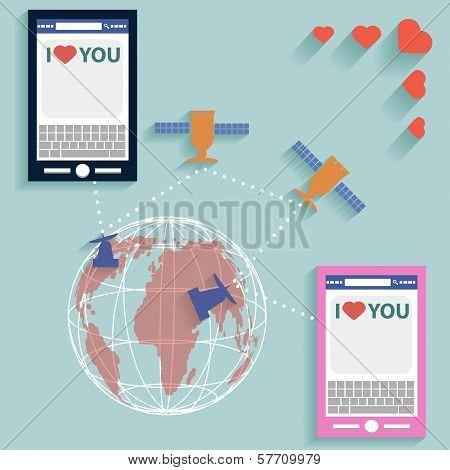 Valentine SMS worldwide flat style vector