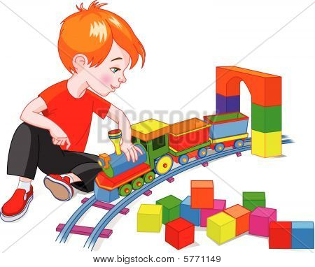Boy with Train Set