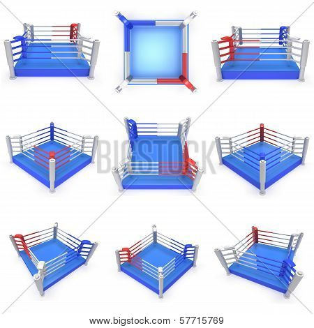 Set of boxing ring. High resolution 3d render