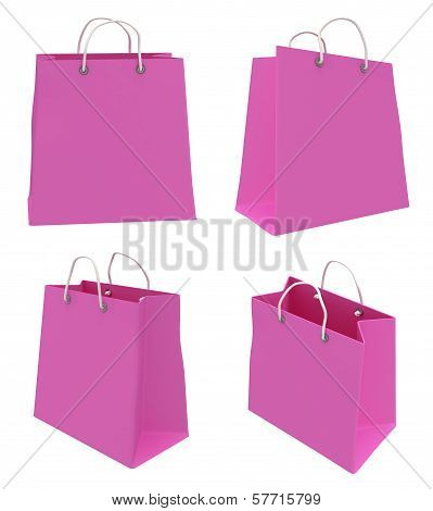 Set of four classic pink blank shopping bags with handles