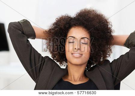 African American Businesswoman Taking A Break