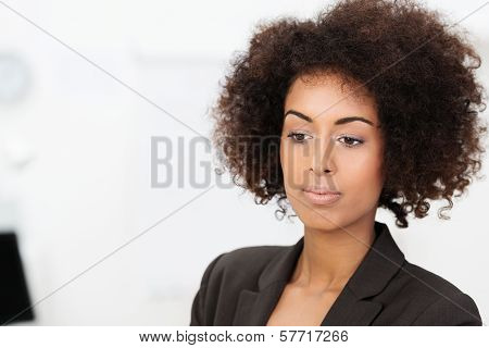 Sad Wistful African American Businesswoman