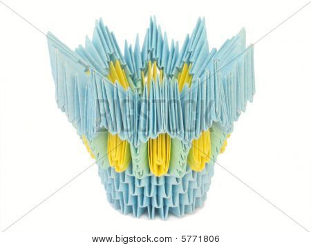 Yellow-blue Pot. Origami.