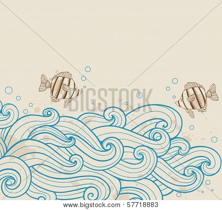 Sea background With Fishes