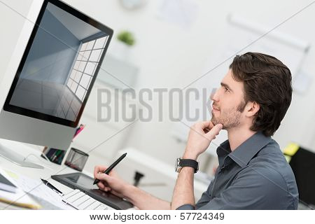 Businessman Using A Tablet And Pen To Navigate
