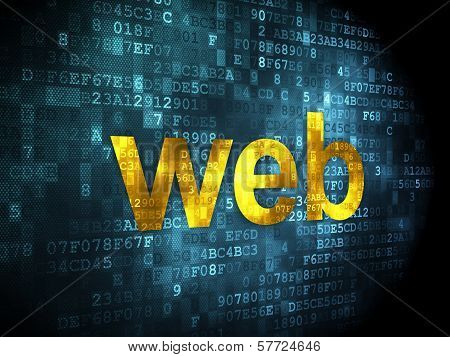 SEO web design concept: Web on digital background