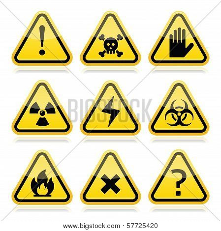 Danger, risk, warning modern traingle signs set