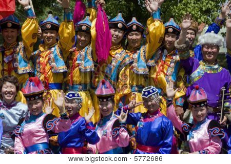Banja Luka - June 21 - Young People In Traditional Chinese Ethnic Clothing On International Folk Dan