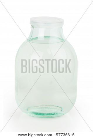 Closed Lid Three Liter Transparent Glass Jar Filled With Water