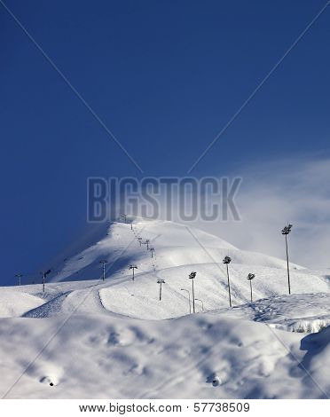 Ski Slope And Ropeways In Winter