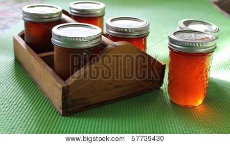 Caddy of apple butters and jellies