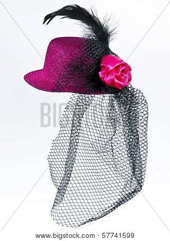 Vintage  Lady's Hat With A Black Veil Isolated