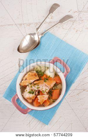 Irish Salmon Stew In A Pink Bowl