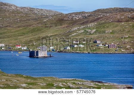 Castlebay And Kisimul Castle, Barra, Outer Hebrides Of Scotland