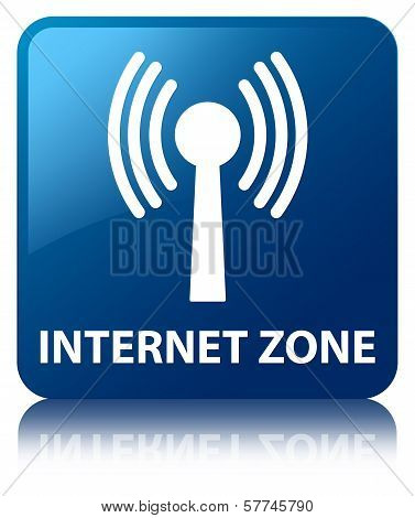 Internet Zone (Wlan Network Icon)  Glossy Blue Reflected Square Button
