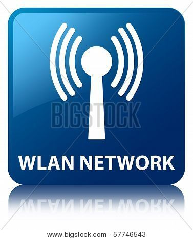 Wlan Network Glossy Blue Reflected Square Button