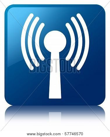 Wlan Network Icon Glossy Blue Reflected Square Button