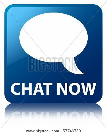 Chat Now (Talk Bubble Icon) Glossy Blue Reflected Square Button