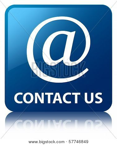 Contact us (email address icon) Glossy Blue Reflected Square Button