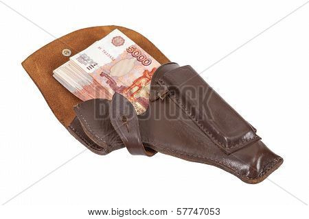 Banknotes In The Brown Leather Holster Isolated On White Background