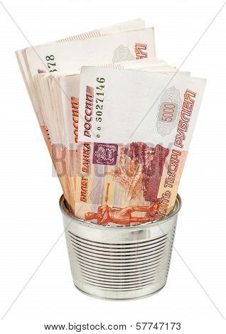 Russian Rouble Bills In Metal Can Isolated On White Background
