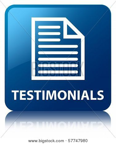 Testimonials (quote Page Icon) Glossy Blue Reflected Square Button
