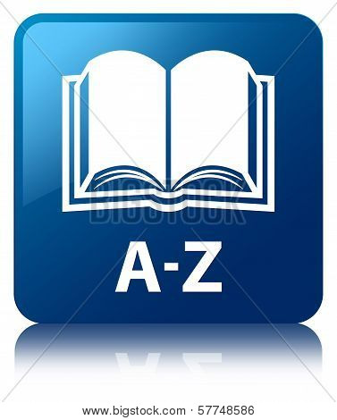 A-z Book Glossy Blue Reflected Square Button