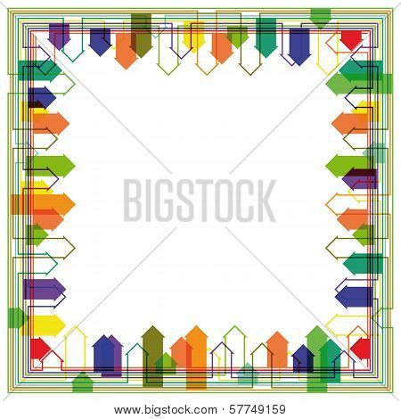 Abstract Bright City Silhouette Frame Design Oriented Towaeds The Centre. Eps10