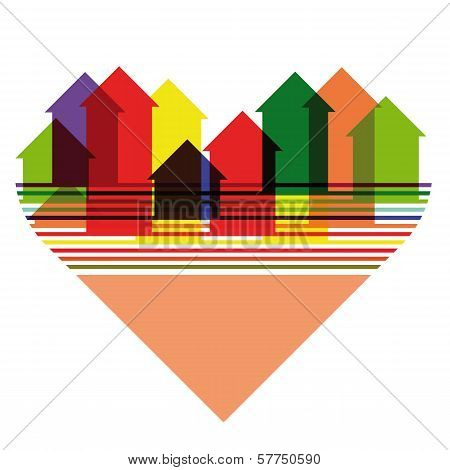 Abstract Bright City Silhouette Inscribed Into Heart Shape. Eps10