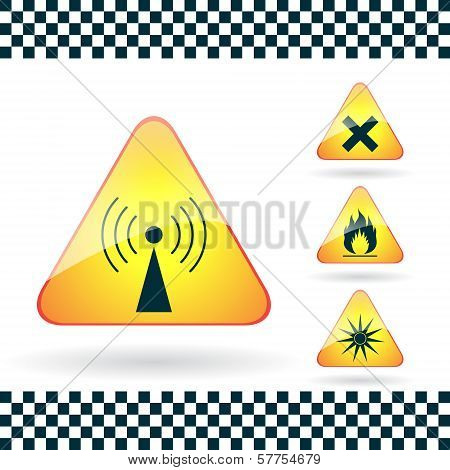 Set Of Triangular Warning Hazard Signs Radio Emission, Optical Radiation, Harmful, Flammable