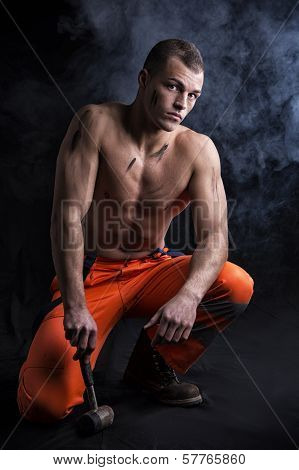 Sexy Shirtless Construction Worker With Hammer, Kneeling
