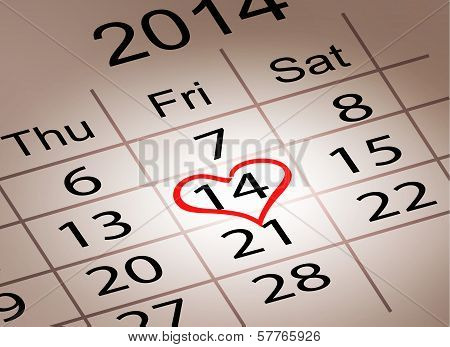 Valentine's Day Calendar. February 14 Of Saint Valentines Day. Vector Illustration.
