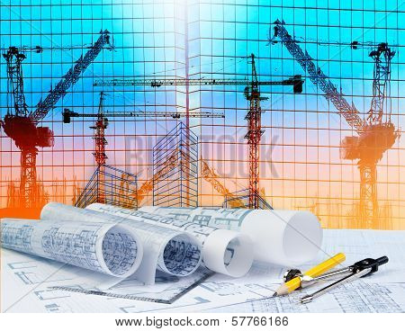 Architecture Plan On Architect Working Table With Building And Reflection Of Crane Construction On M