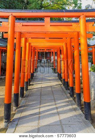 Torii gates of a small Inari shrine in the area of Ikuta-jinja Shrine in Kobe