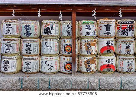 Sake barrels at Ikuta-jinja in Kobe